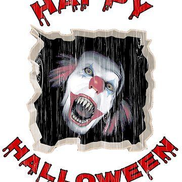 Creepy Scary Clown Horror Halloween Distressed T-Shirt by wrightboy62