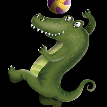 Crocodile Volleyball Player Spike a Ball Sport Gift  by javaneka