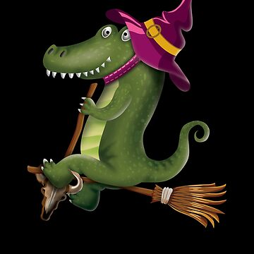 Crocodile Witch Flying on a Broomstick Funny Halloween Gift by javaneka