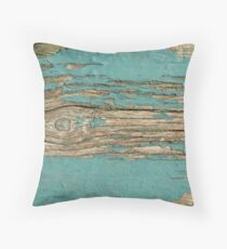 Rustic Wood - Beautiful Weathered Wooden Plank - knotty wood weathered turquoise paint Throw Pillow
