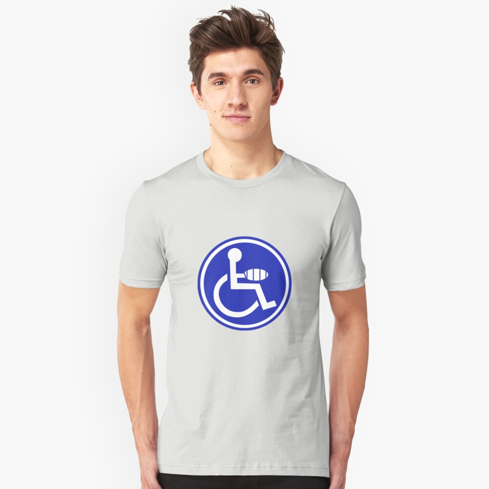 DISABLED JOKE PARKING SIGN HAND Unisex T-Shirt Front