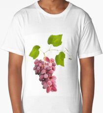Ripe red grape fruits with leaves isolated on white.Digital painting. Long T-Shirt
