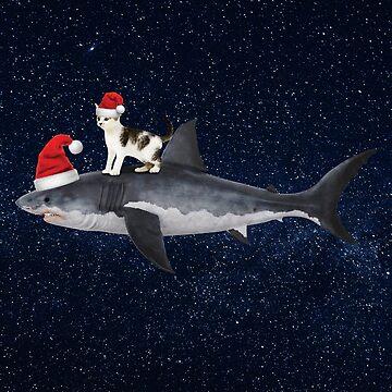 Santa Cat Surfing On A Santa Shark In Christmas Space by banwa