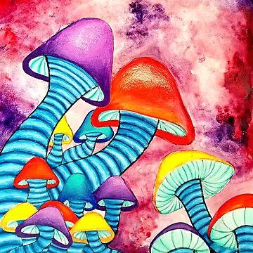 MIxed Media Watercolor Mushrooms by ArtbyMeganBrock