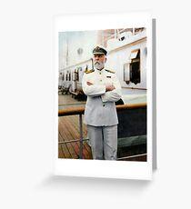 Kapitän E.J. Schmied. Kapitän der RMS Titanic. Grußkarte