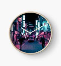 Schimmernde Neonlichter von Tokio Uhr