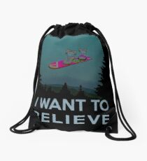 I want to believe - The Hover Board from back to the future Drawstring Bag