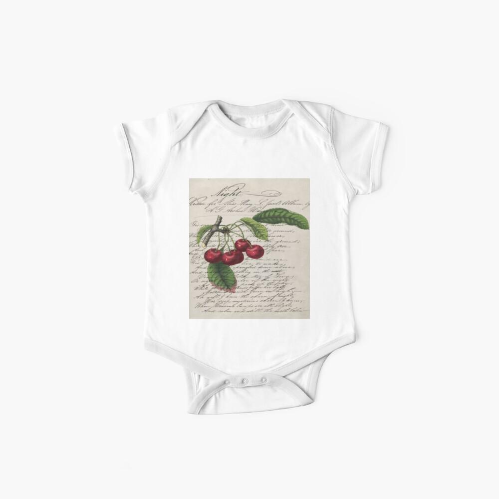 schäbige Eleganz französisches Land botanische Vintage rote Kirsche Baby Body