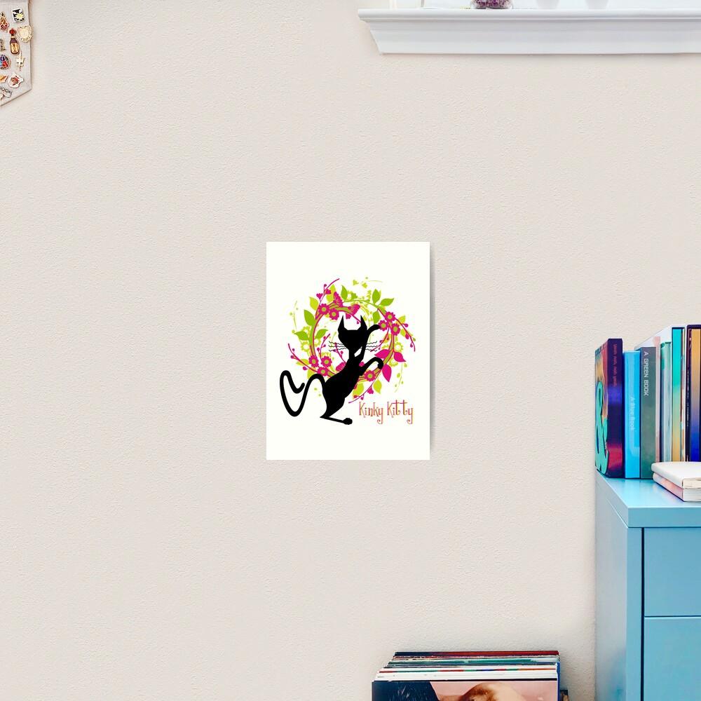 KINKY KITTY - Kitty with Garland Art Print