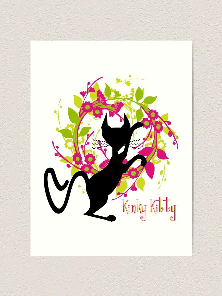 Alternate view of KINKY KITTY - Kitty with Garland Art Print