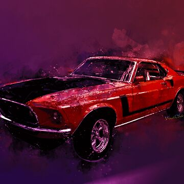 69 Mustang Mach 1 Watercolor Illustration from VivaChas! by ChasSinklier
