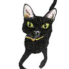 BLACK CAT - LOOKING FOR A TREAT c203 by Hares & Critters