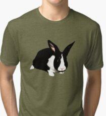 BUNNY BLACK WHITE RABBIT Tri-blend T-Shirt