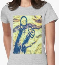 1369 antique crumpled crumpled paper Women's Fitted T-Shirt