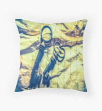 1369 antique crumpled crumpled paper Throw Pillow
