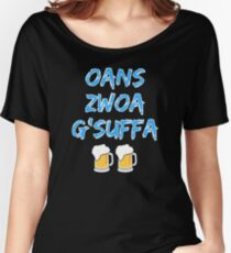Oans zwoa gsuffa with beer measure Women's Relaxed Fit T-Shirt