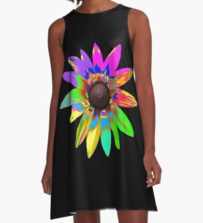 wunderschöne bunte Blume, Regenbogen, Blüte, Natur A-Linien Kleid