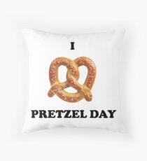 I Love Pretzel Day Throw Pillow