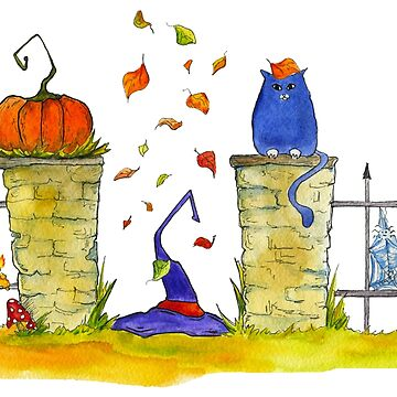 Watercolor illustration. Halloween. Witch's hat, pumpkin, big cat, autumn/fall leaves by rusmashart