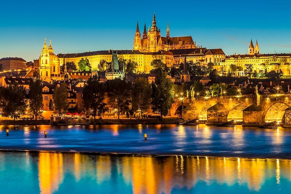 Prague 002 - The City Skyline at the Blue Hour by seeczechia