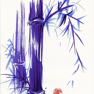 'Spring' Original ink and wash lavender bamboo painting by tranquilwaters