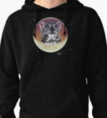 Baby Snow Leopard Cub On Moon Pullover Hoodie