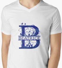 Beatrice | Girls Name Monogram | Watercolor and Butterflies Men's V-Neck T-Shirt