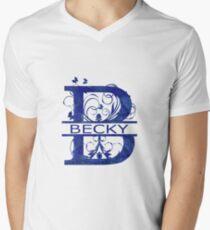 Becky | Girls Name Monogram | Watercolor and Butterflies Men's V-Neck T-Shirt