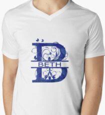 Beth | Girls Name Monogram | Watercolor and Butterflies Men's V-Neck T-Shirt