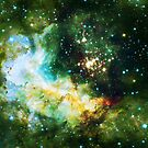 Green Galaxy - Infinite Flower of Life Pattern - Westerlund 2 — Hubble's 25th Anniversary Image (Color Enhanced) by SirDouglasFresh