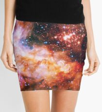 Orange Space Jam Galaxy - Infinite Flower of Life Pattern - Westerlund 2 (Color Enhanced) Mini Skirt