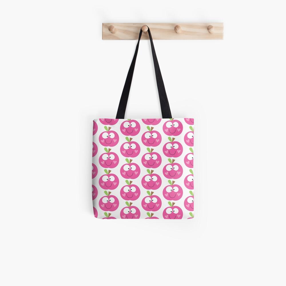 Happy Apple Pink Tote Bag