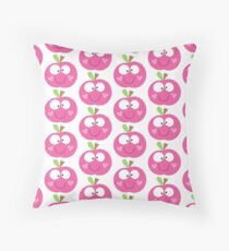 Happy Apple Pink Throw Pillow