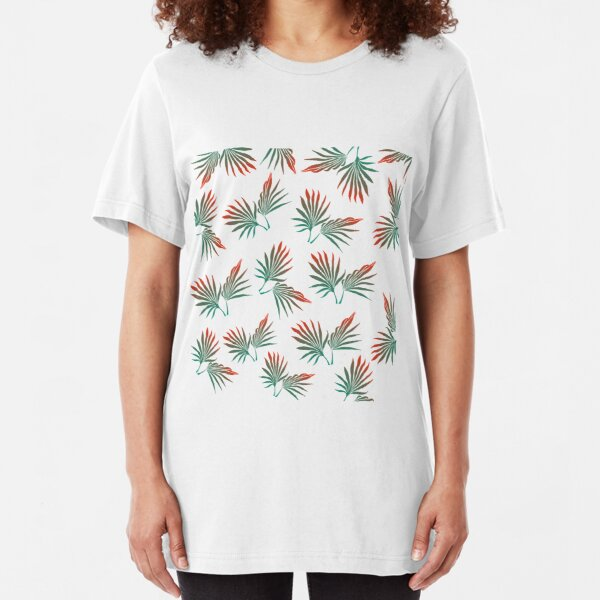 Tropical leaves, pal leaves, tropical leaf, palm leaf, tropical pattern, green and orange Slim Fit T-Shirt