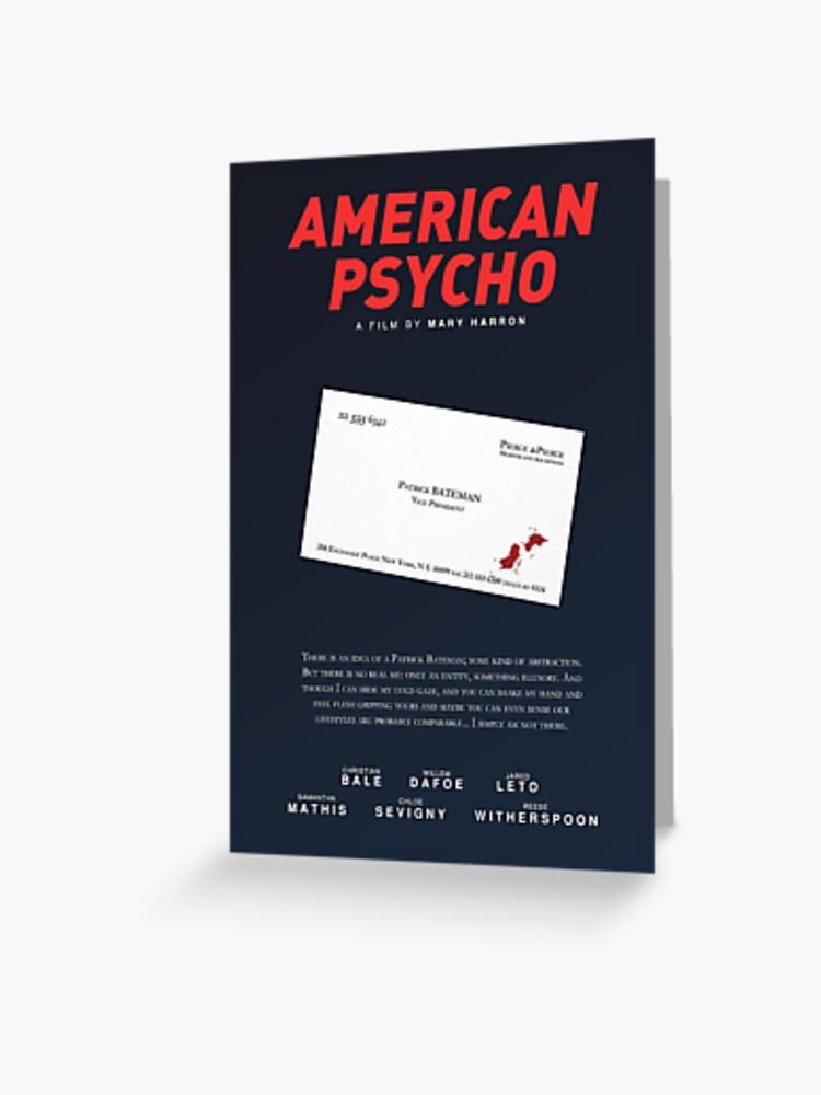 American Psycho Bateman S Blutverschmierte Visitenkarte Grußkarte