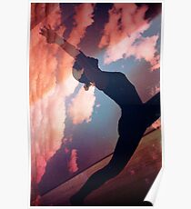 Yoga pilates analog film 35mm double exposure nature clouds photo Poster