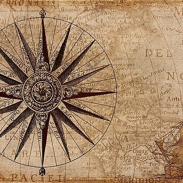 Compass with sailing ship by comtessek