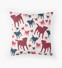 Border Terrier Gifts for Dog Lovers Deep Red, Cream & Navy Silhouette Throw Pillow