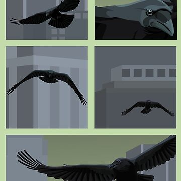 Ravens in front of Canary Wharf buildings by BurrowsImages