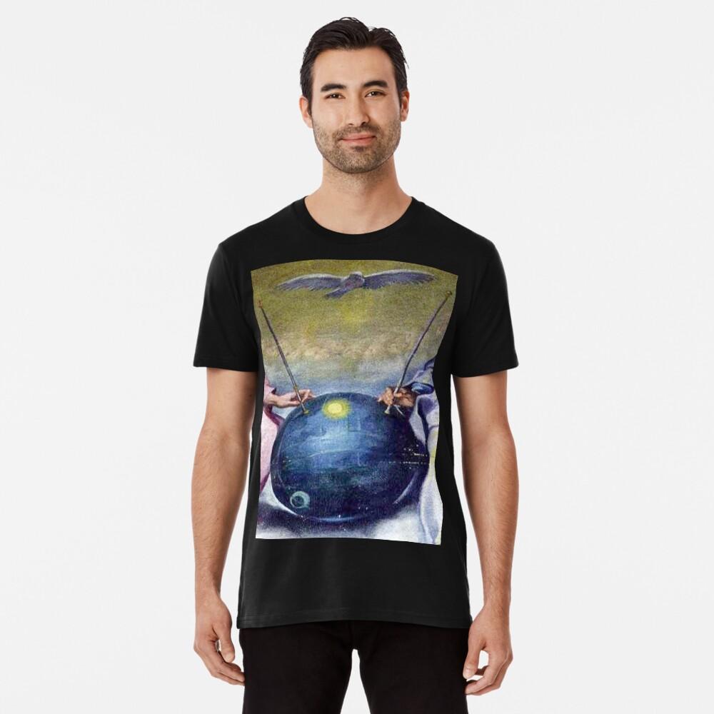 UFOs, in Ancient Art, Detail from; DETAIL; Disputa of the Eucharist, Celestial sphere, Sputnik satellite? Men's Premium T-Shirt Front