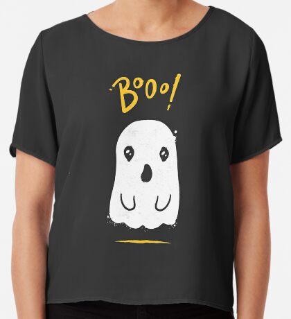 Boo, Cute and Scary Halloween Ghost Women's Chiffon Top