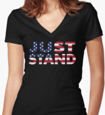Just Stand for the American Flag and Anthem  Women's Fitted V-Neck T-Shirt