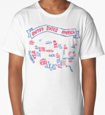 USA Word Map Long T-Shirt