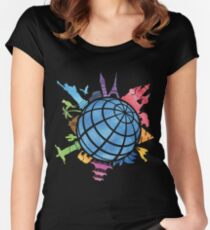 Landmarks around the World Women's Fitted Scoop T-Shirt