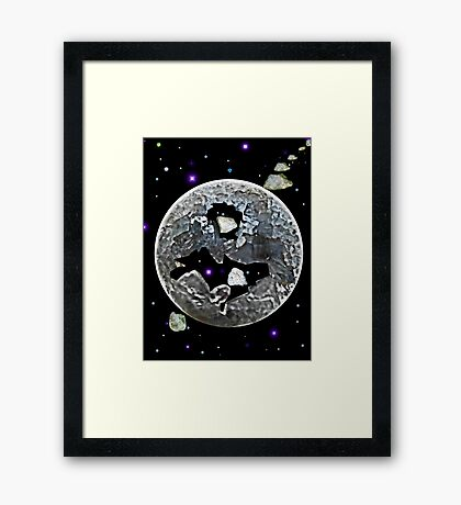 Broken Celestite Crystal Planet  hit by Granite Meteorites  Framed Print
