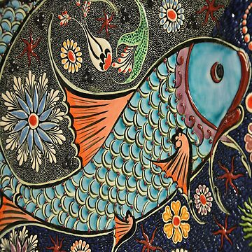 folk art orange blue japanese good luck koi fish by lfang77