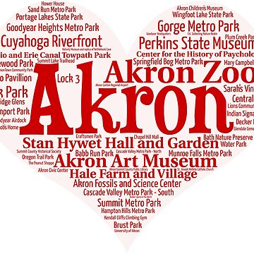 Heart of Akron Red Heart Word Cloud Products by Mel747