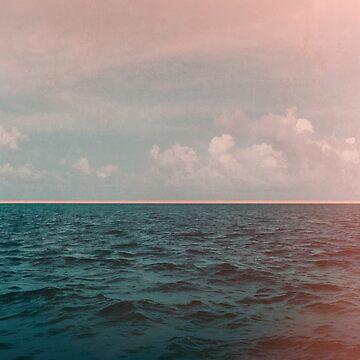 Turquoise Ocean Peach Sunset by adventurlings