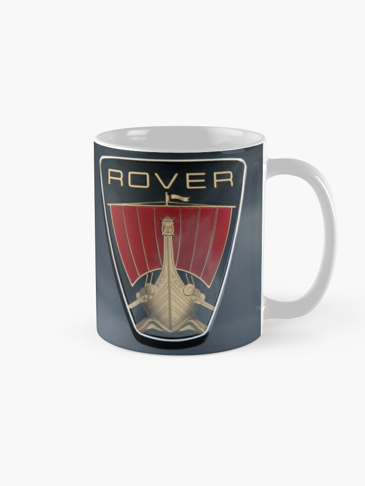Alternate view of Classic Rover P6 Viking ship badge (black background) Mug