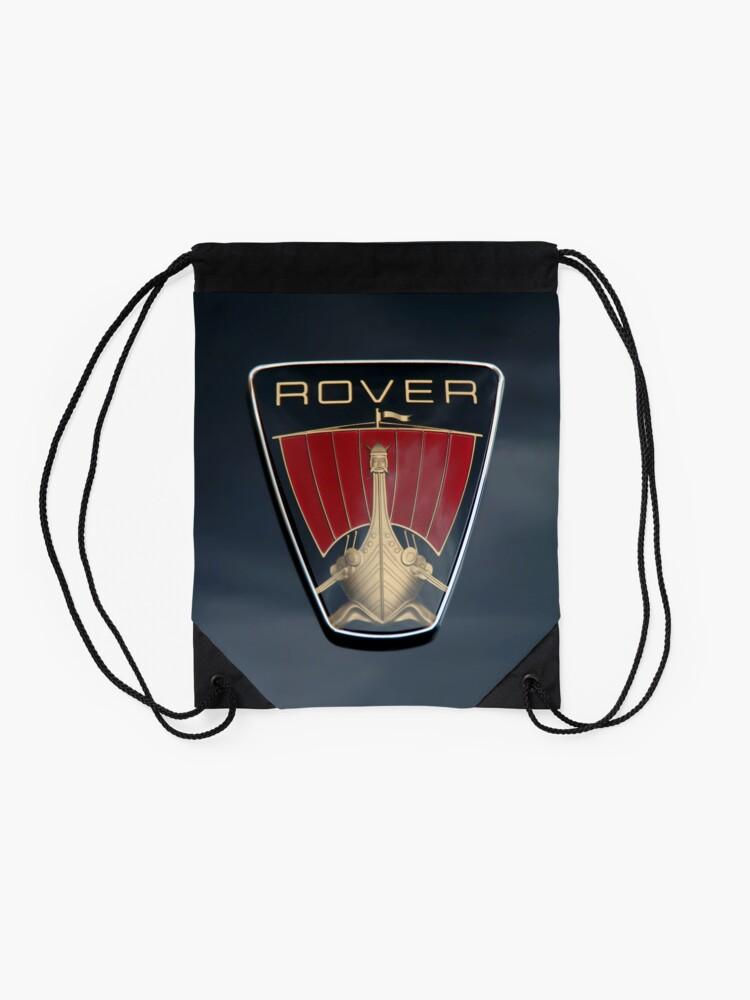 Alternate view of Classic Rover P6 Viking ship badge (black background) Drawstring Bag